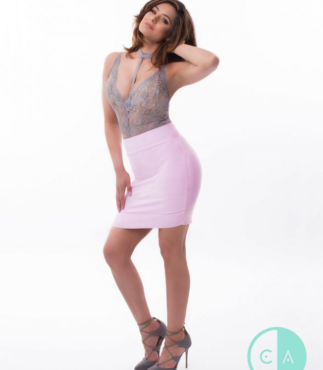 pink bandage mini skirt