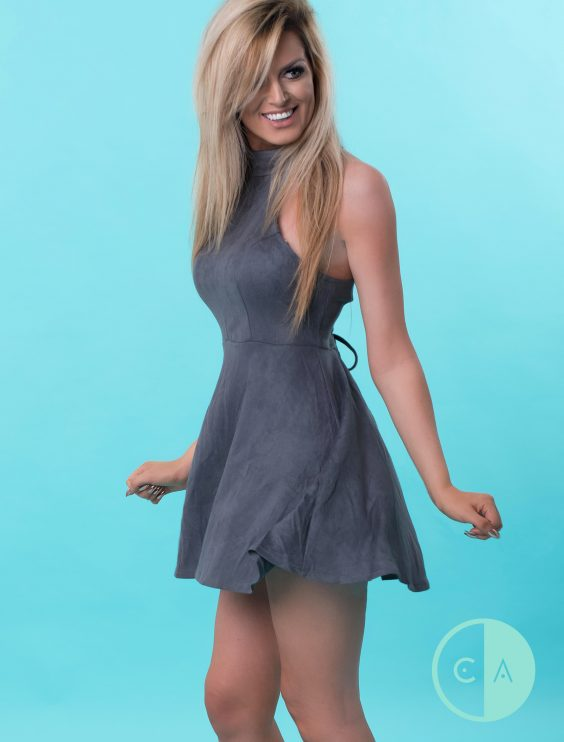 Grey suede lace up back Dress