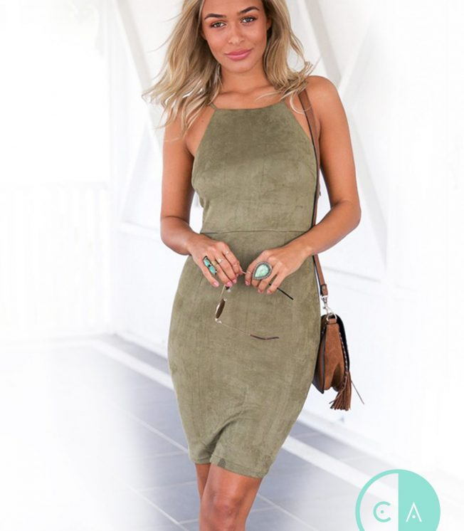 Khaki Green Suede Lace Up Back Midi Dress