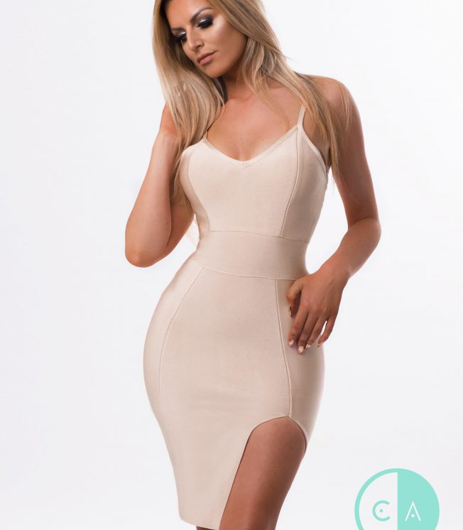 Nude bandage dress spaghetti strap