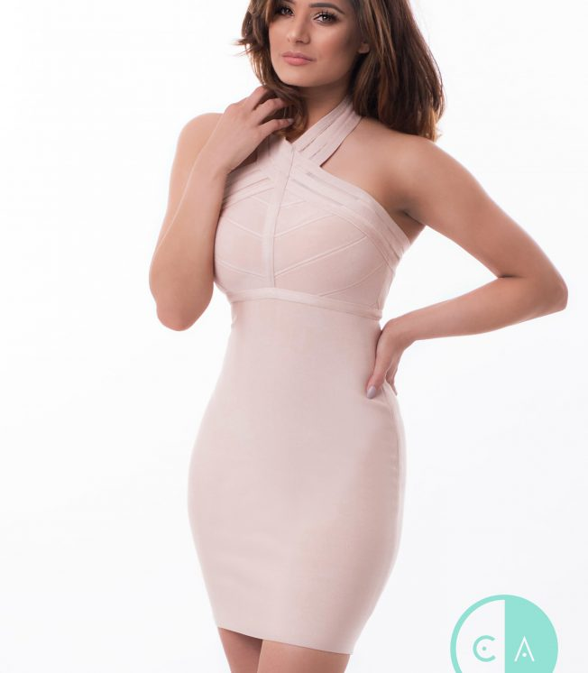 Nude halterneck bandage dress
