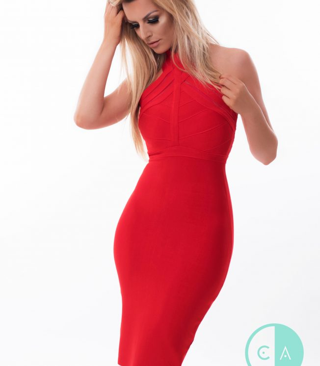 Red halterneck bandage dress