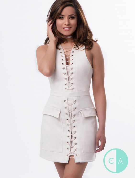 cream Suede lace up Bodycon dress