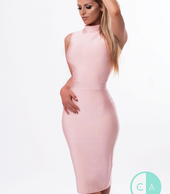 nude-pink midi bandage dress