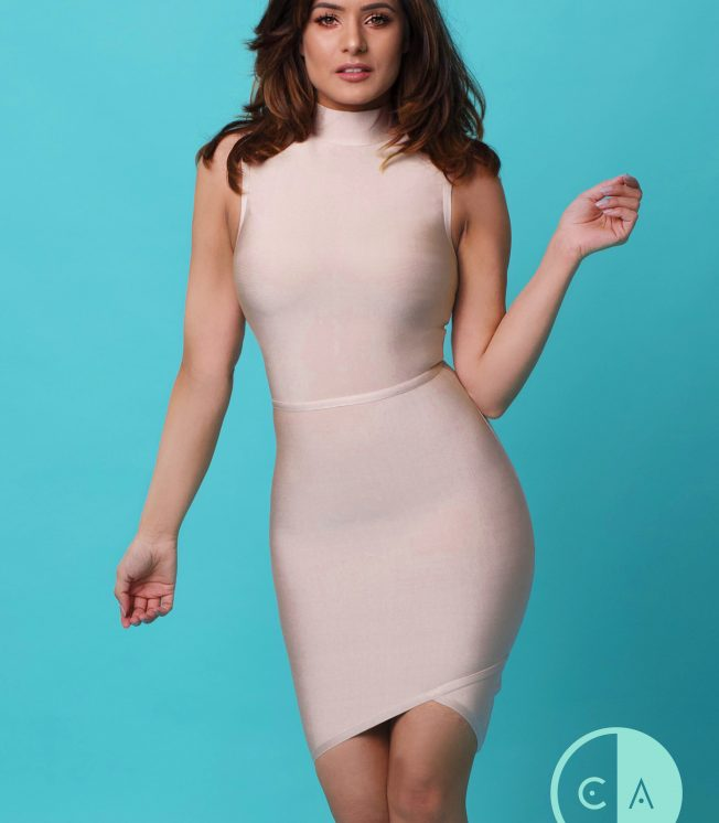 Apricot asymmetrical bandage dress