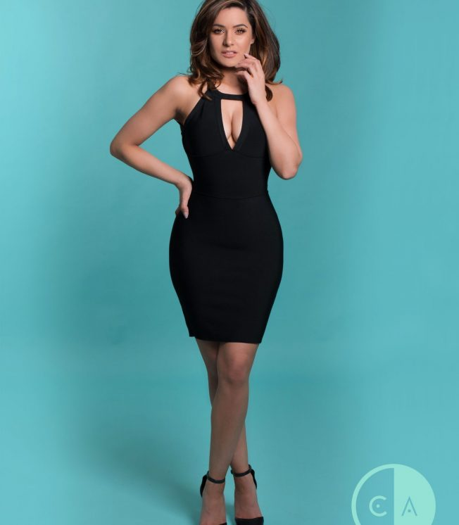 black backless crossover bandage dress