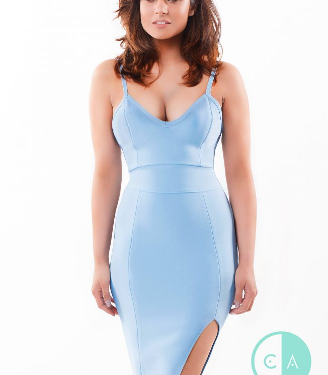 Blue Bandage Dress with Side Split