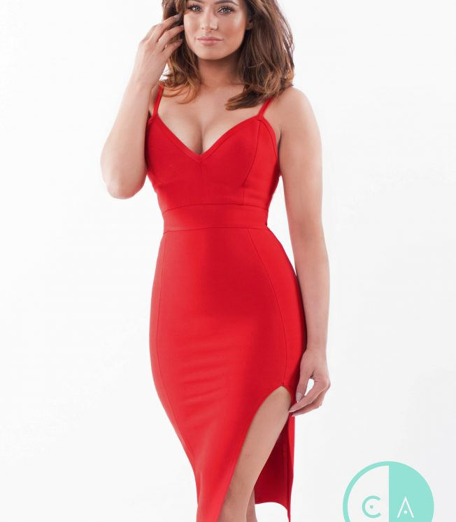 Red Bandage Dress with Side Split