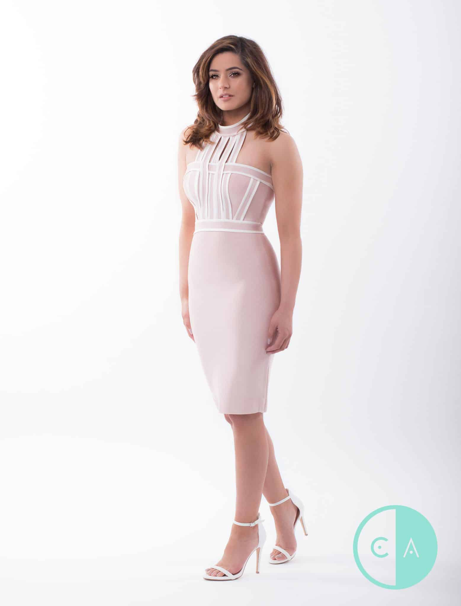 8ad0aa09044d Isabella Apricot High Neck Bodycon Bandage Dress