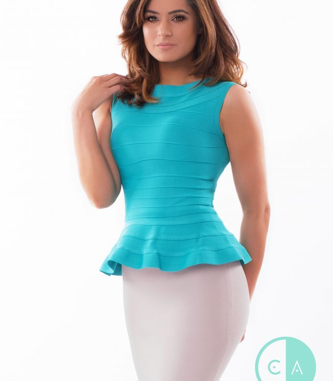Blue Peplum Bandage Top