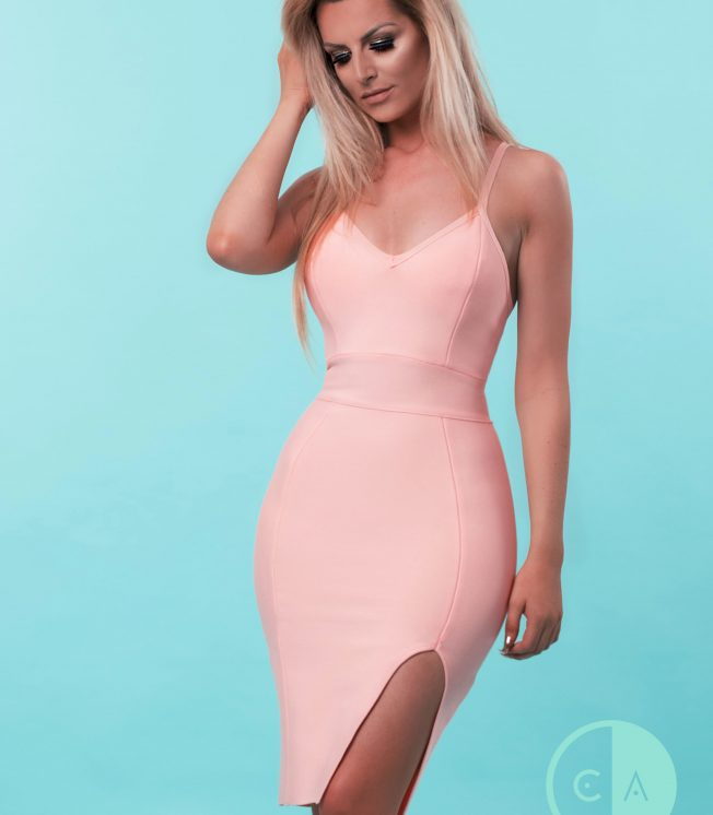 Coral Bandage Dress Spaghetti strap