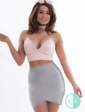 Grey Asymmetrical Bandage Skirt
