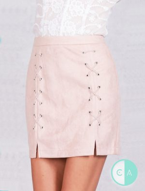Nude Lace Up Suede Mini Skirt