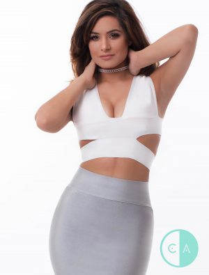 white bandage crossover crop top