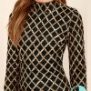 Black and Gold Long Sleeve Sequin Mini Dress - Geometric Style