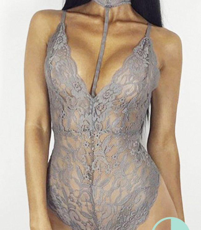 Grey choker Lace Bodysuit