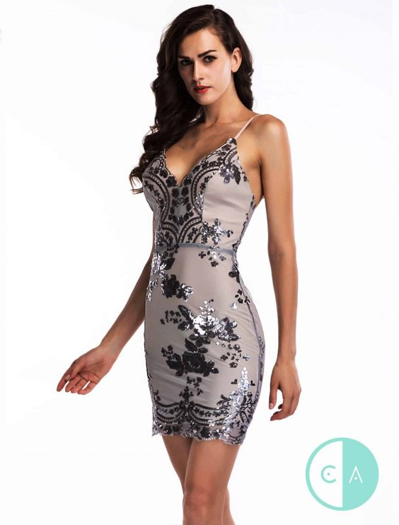 Grey blue Sequin Mini Dress - front
