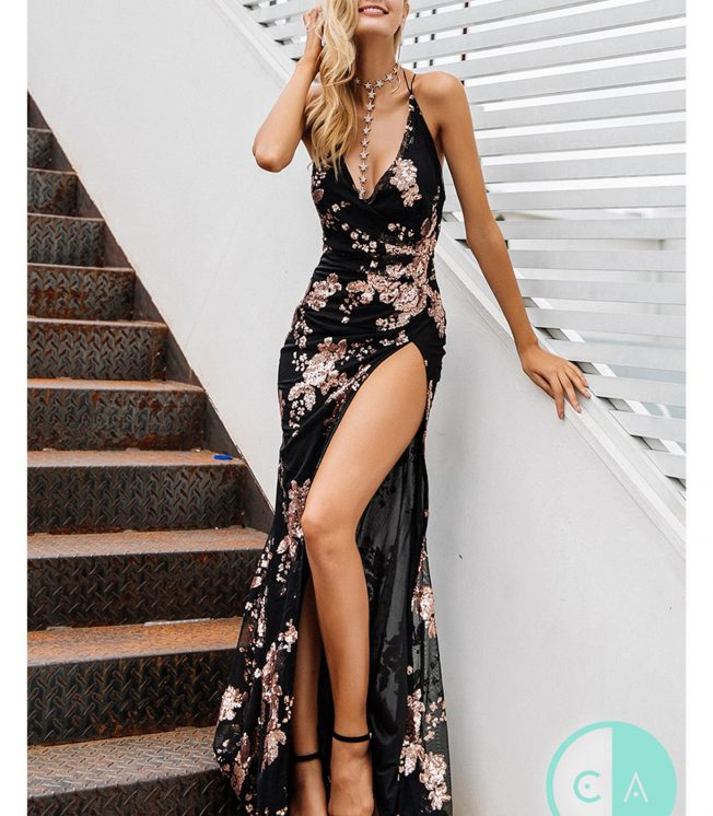 Limited Edition Black & Gold Sequin Maxi -Thigh Split