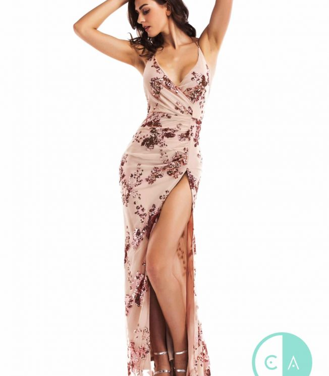 Limited Edition nude & rose Gold Sequin Maxi -Thigh Split