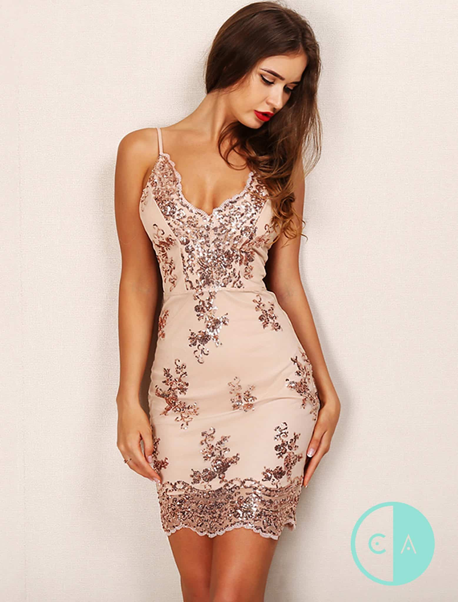 Holly Sparkle Nude and Rose Gold Sequin Mini Bodycon Dress 5188a772b