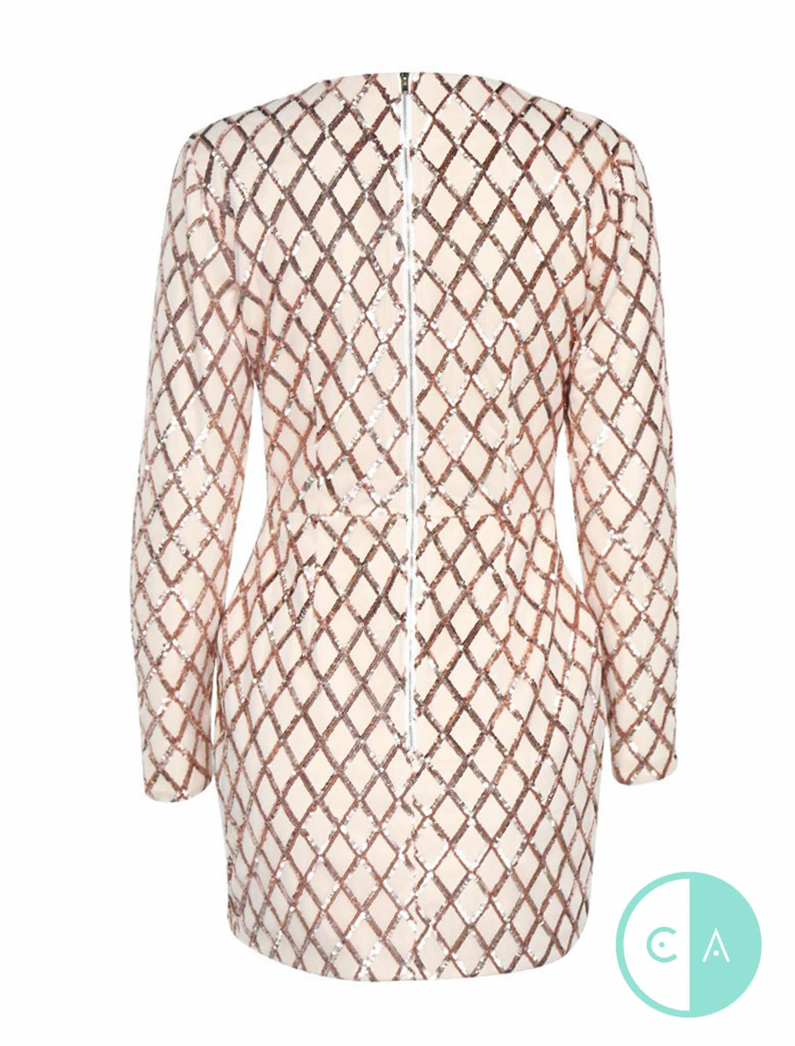Nude And Rose Gold Long Sleeve Sequin Mini Dress