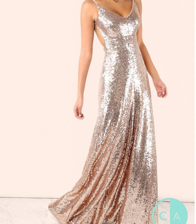 Rose Gold Sequin Backless Maxi