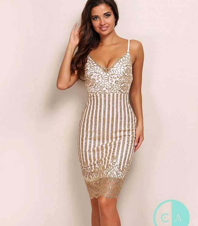 White & Gold Sparkle Glitter Midi Dress
