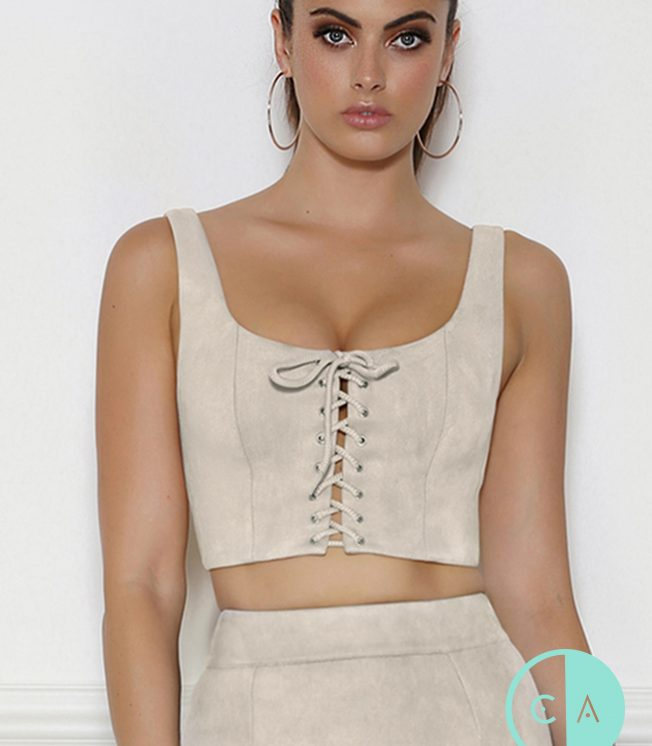 Suedette Lace up crop top