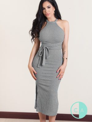 Remy Grey Ribbed HalterRemy Grey Ribbed Halterneck Midi Dress neck Midi Dress