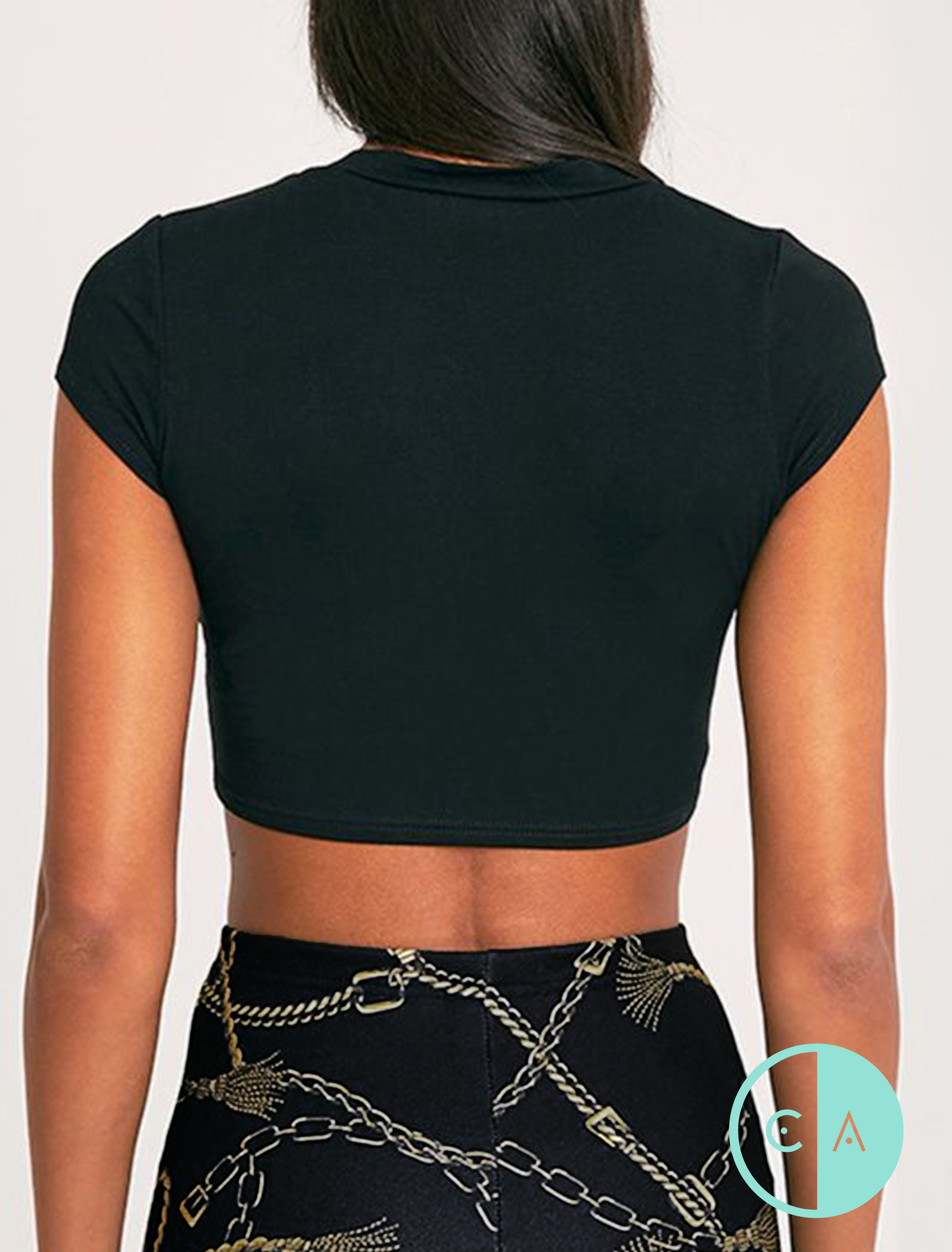 b12c239b9b196 Black Short Sleeve Ripped Style Crop Top T-shirt