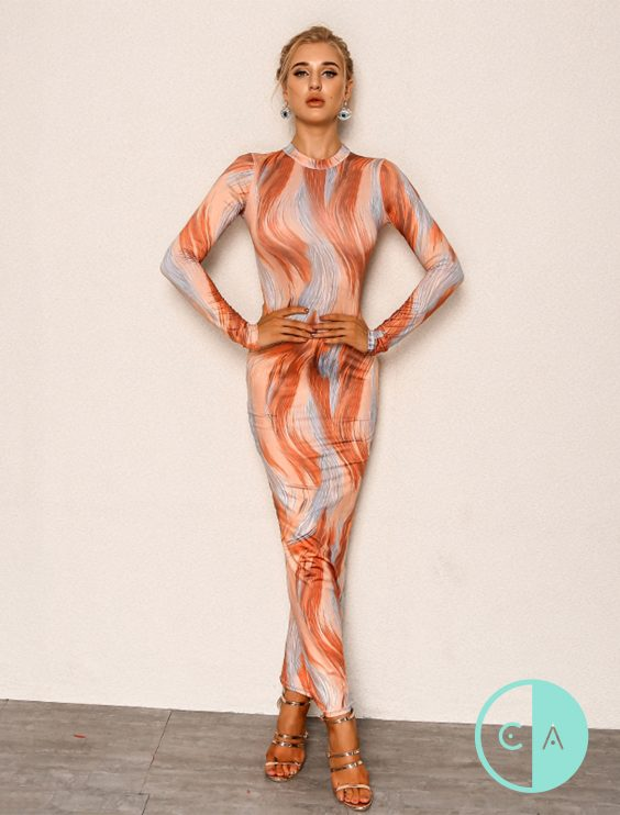 Kylie J Orange print maxi dress